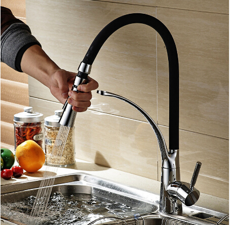 Chrome&black pull out kitchen faucet black oil brushed 360 degree swivel kitchen sink Faucet Mixer kitchen vanity faucet cozinha new design pull out kitchen faucet chrome 360 degree swivel kitchen sink faucet mixer tap kitchen faucet vanity faucet cozinha