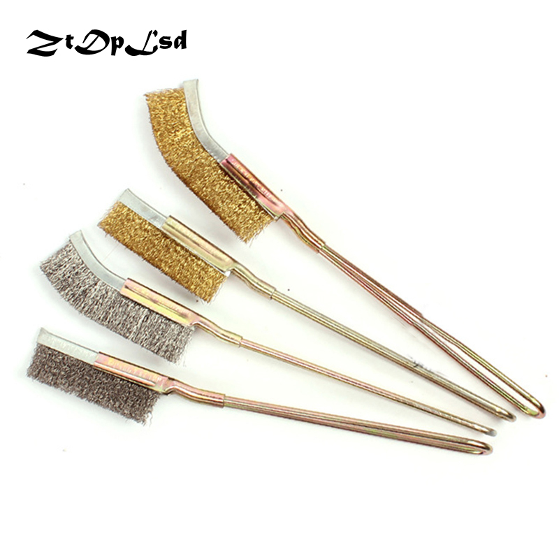 ZtDpLsd Mini Straight Head Wire Brass Stainless Steel Nylon Copper Brush Cup Wheel Dremel Accessories Rotary Cleaning Brush
