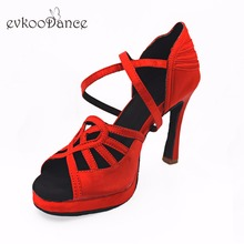 Evkoodance Red Latin Dance Shoes Professional 1.5cm flatform 10cm High Heel For Women Evkoo-518