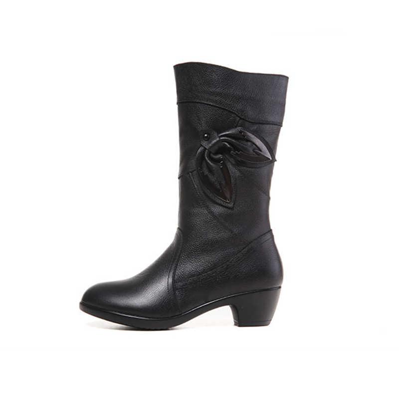 DONGNANFENG Vrouwen Dames Vrouwelijke Moeder Echt Lederen Schoenen Laarzen Mid Calf Winter Pluche Vacht Warm Zip Plus Size 42 43 BH-5222-6