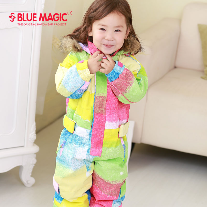 Bluemagic зимние лыжные костюмы для малышей, один предмет для детей, водонепроницаемый теплый комбинезон для девочек и мальчиков, Сноубордическая куртка, комбинезон-30 градусов - Цвет: Rainbow colors