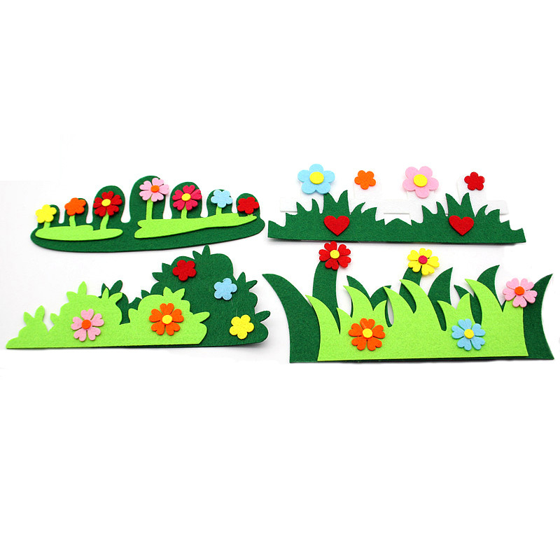 Hot Sell Felt Craft Cloth Felts Cutting Flower Grass Heart Appliques Diy Kids Room Decoration Stickers Kindergarten Decoration