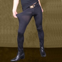 Sexy Men Ice Silk Perspecitve See ThroughHigh Elastic Flexibiltiy Tight Trousers
