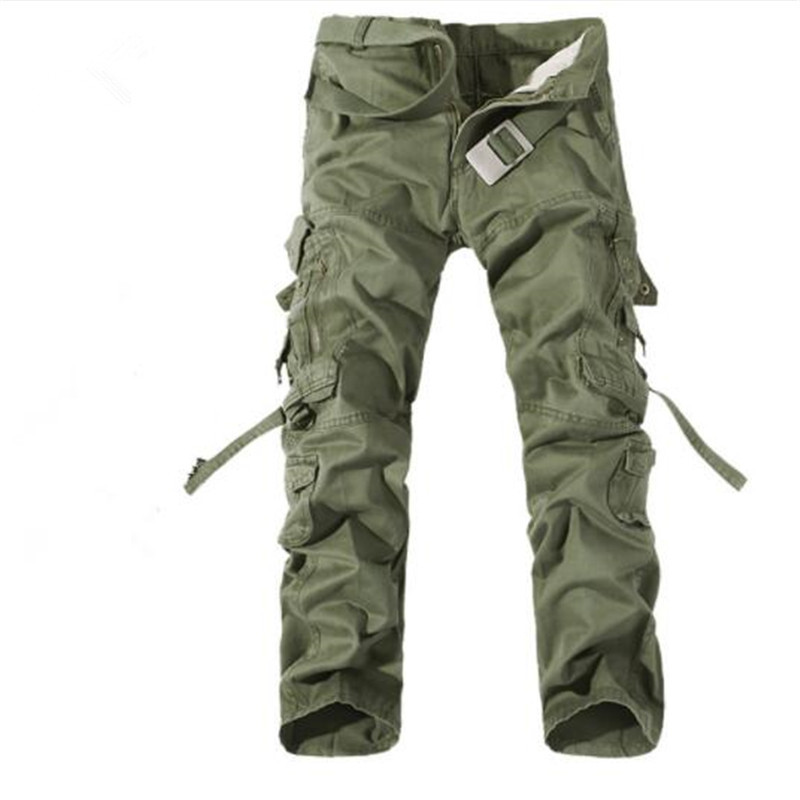 Cargo-Pants Casual-Trousers Big-Pockets Male Plus-Size Mens New Autumn 42 Army-Green