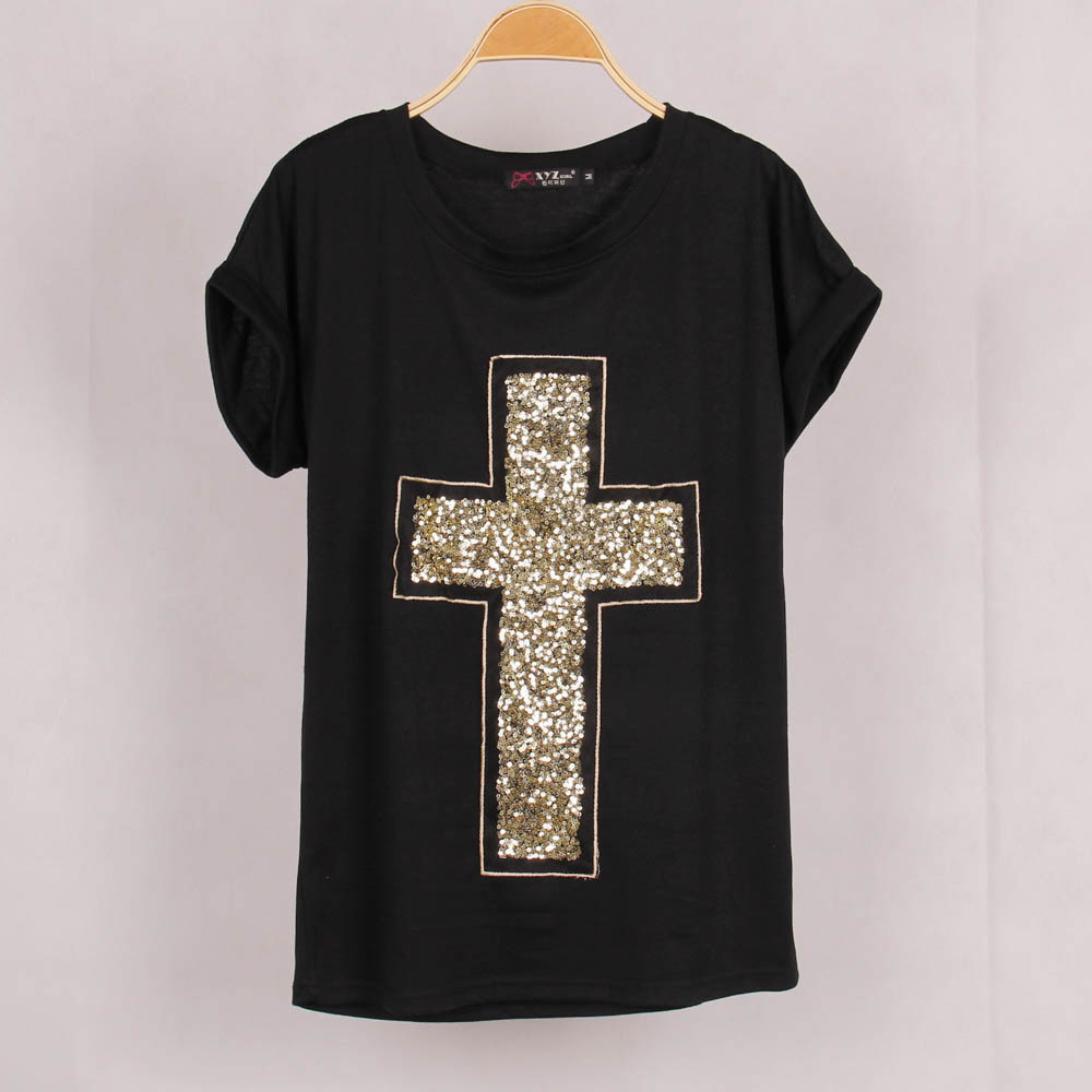 free shipping casual women cross sequined t shirt blusas