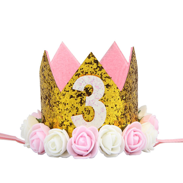 10 Pcs Lot 2018 Baby Birthday Party Cap Boys Girls Princess Crown Number 3 Year