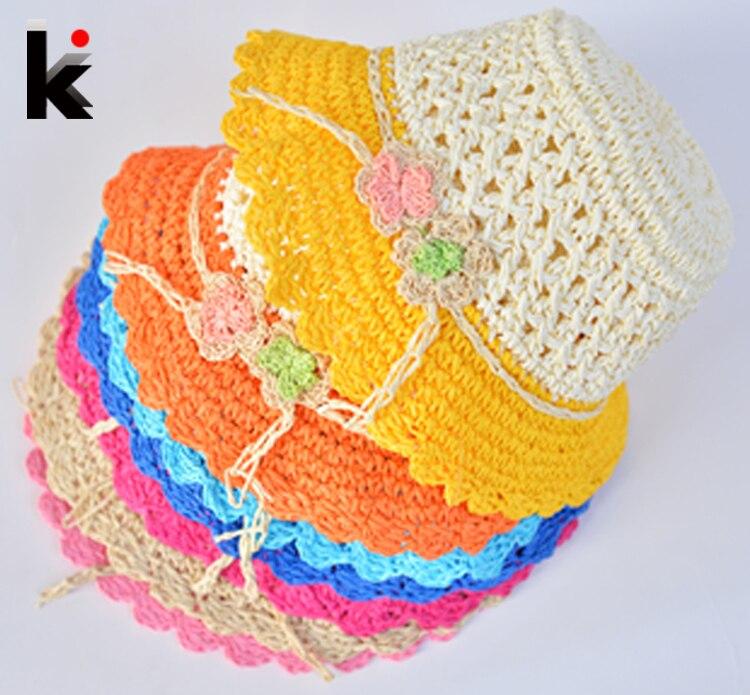Fashion children hats for girls Beach Hat Flower Cap Kids Straw hat Childrens Summer Sun Hand-woven caps 7 colors free shipping 1