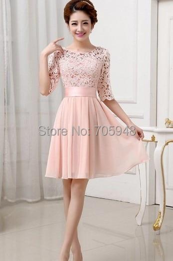 Kleid spitze langarm rosa