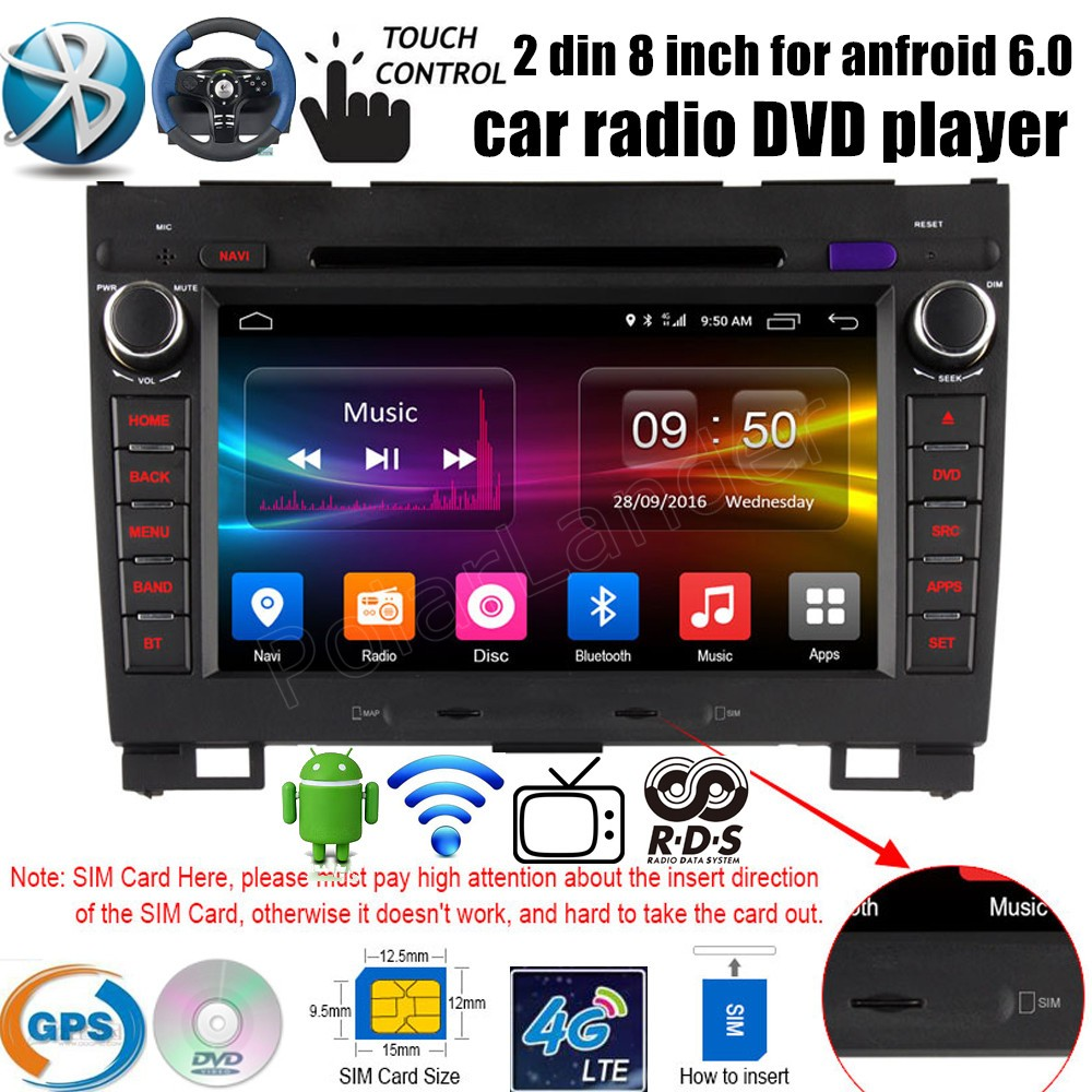 Android 6.0 автомобиль DVD GPS 2 ГБ Оперативная память 16 ГБ Радио стерео 4 ядра плеер касание для большой стена HAVAL Hover H3 H5 2010-2013