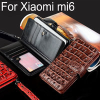For Xiaomi Mi 6 Case Luxury Crocodile Snake Leather Flip Business Style Wallet Cases For Xiaomi