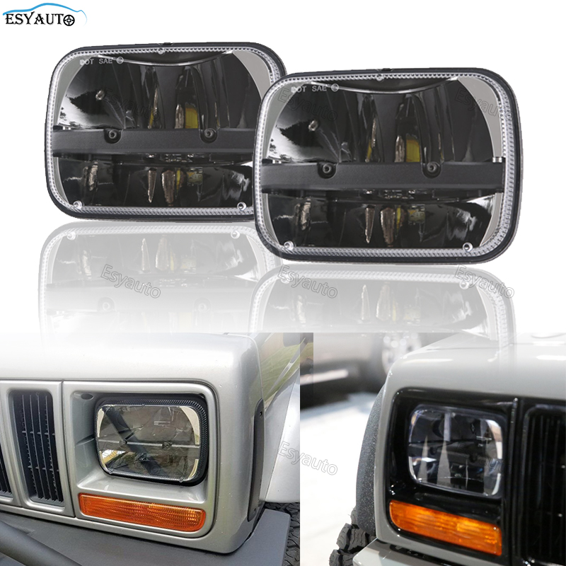 5x 7 Inch Daymaker Square headlight 6x 7 H4 Connector led truck light High Low Beam Headlamp For Jeep Wrangler Cherokee