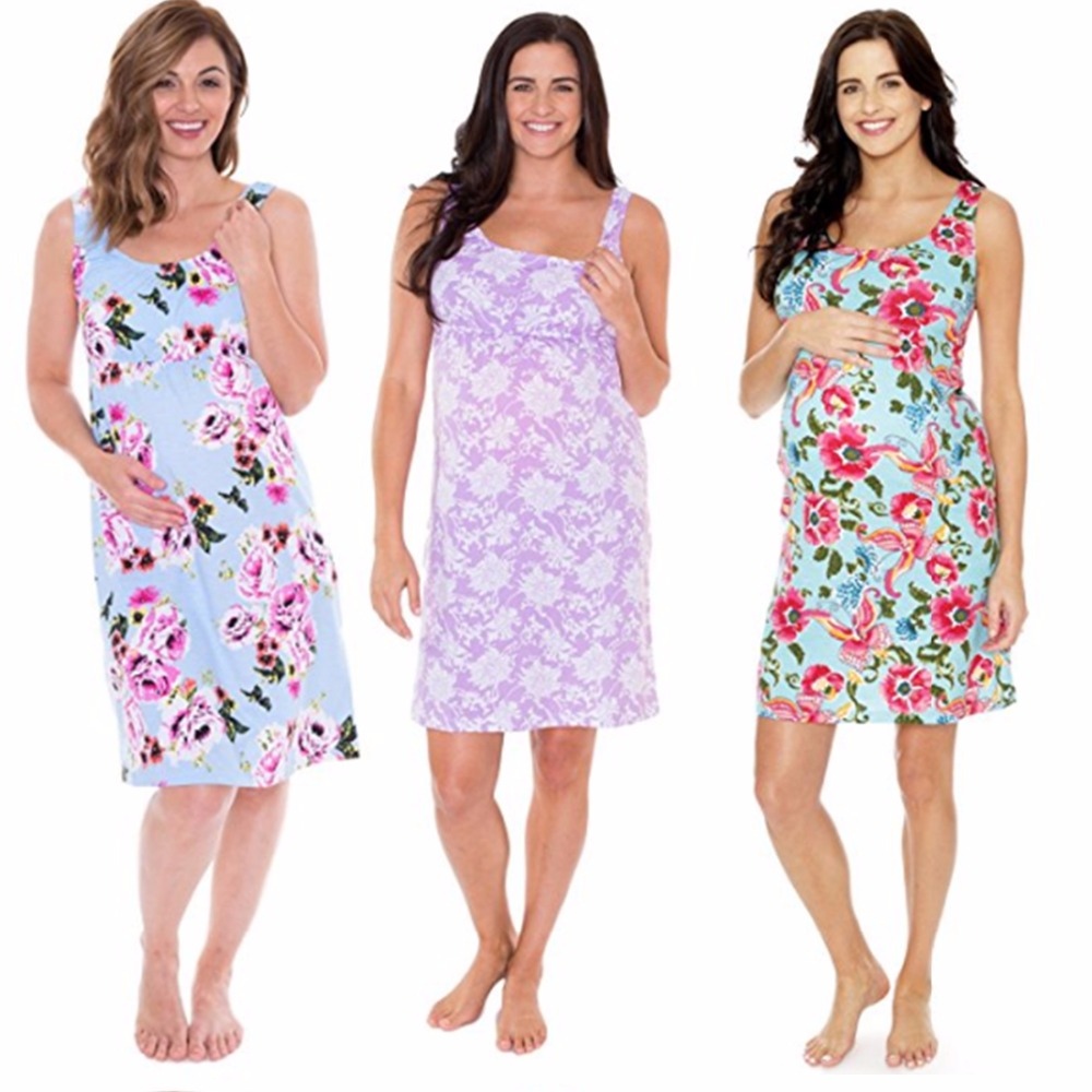 94d396ff57f Puseky Maternity Dresses Daily Dress Sleeveless Floral Pregnancy Clothes  Women Lady Elegant Mini Dress Party Wear Outfit Photo -in Dresses from  Mother ...