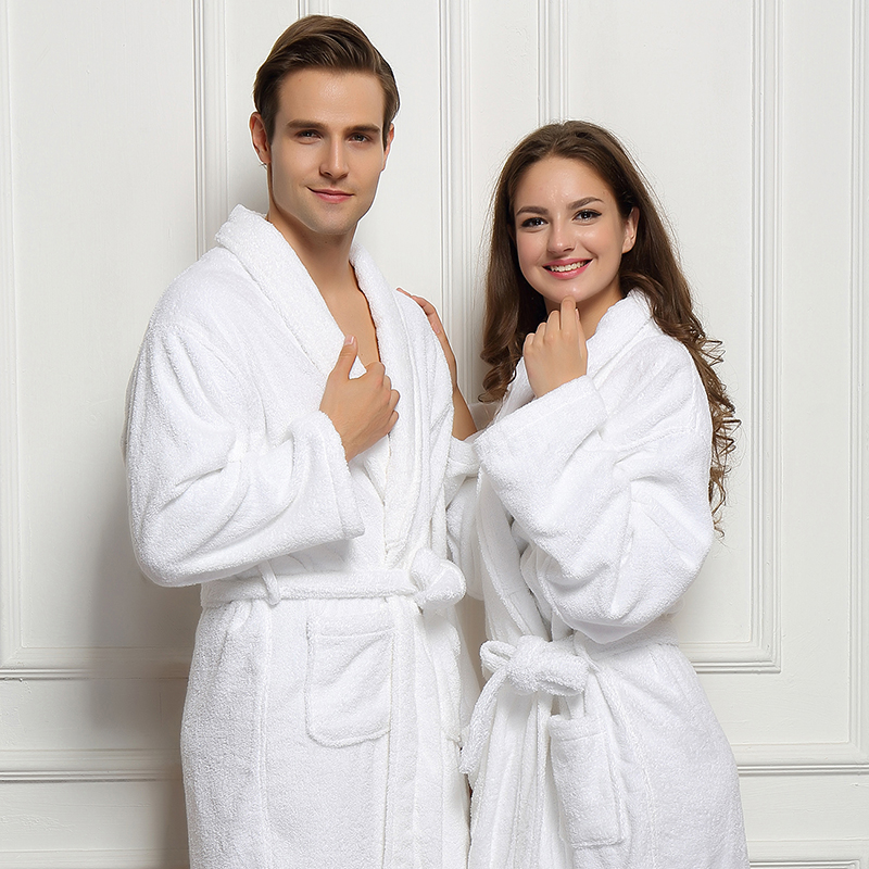 Winter Cotton Bathrobe Thick Dressing Gown White Bathrobe Men Solid Color Men's Cotton Robe Home Clothes Sleeping Robe For Men