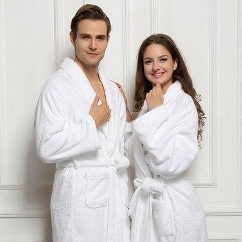 Winter Cotton Bathrobe Thick Dressing Gown White Bathrobe Men Solid Color Men's Cotton Robe Home Clothes Sleeping Robe For Men