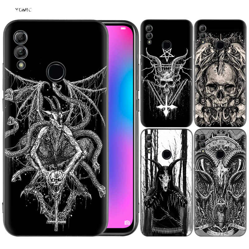 Silicone Cover Case for Huawei Honor 10 9 Lite 8X 8C 8A Y6 Y7 Y9 7A Pro Prime 7C 2018 2019 V20 Goat Head Satan