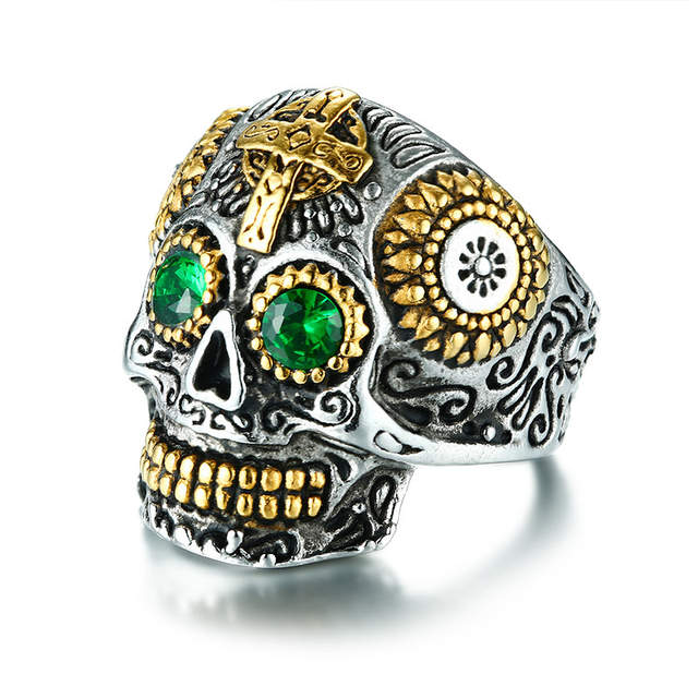 a94fc67bc7f6 Men s Mexican Sugar Skull Ring Punk Green Eyes Gold Teeth Rings with Gothic  Cross for Men