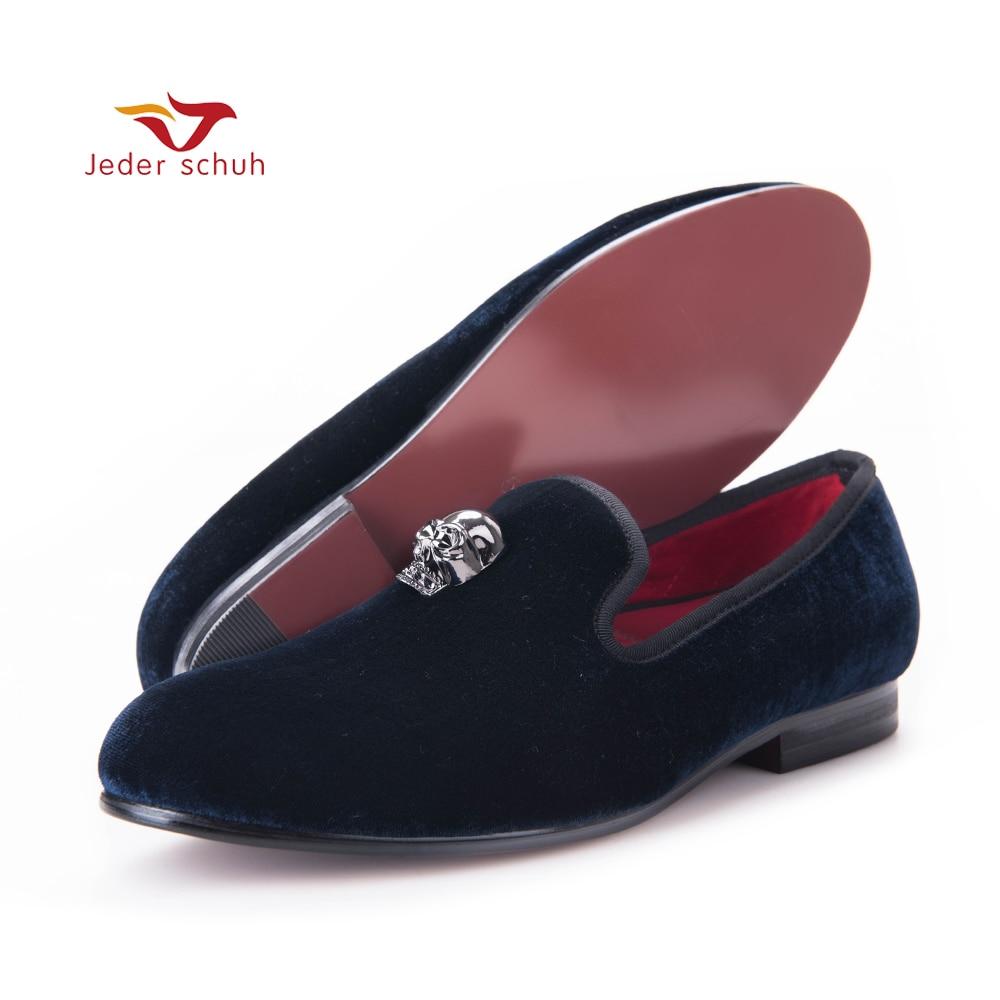Men Loafers Velvet-Shoes Skull-Buckle Flats-Size Fashion And Wedding Men's