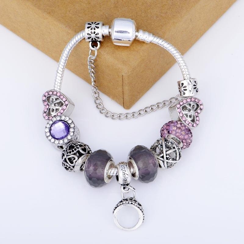 SPC Fran Fashion Original Charms Bracelet & Bangle Pink Enamel Flower Glass Beads Bracelets Statement Jewelry цена
