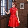 1pcs/lot free shipping women short vintage red slim cheongsam satin lace v-neck short-sleeve flowers embroidery zipper qipao