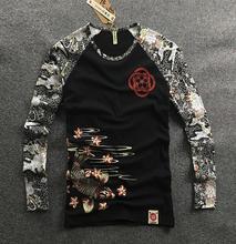 Mens Hip hop motorcycle T Shirts Tattoo Dimensional Printing Cotton Long Sleeved T Shirt Mens Slim Cherry Carp Pattern Tops Tee