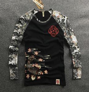 Image 1 - Mens Hip hop motorcycle T Shirts Tattoo Dimensional Printing Cotton Long Sleeved T Shirt Mens Slim Cherry Carp Pattern Tops Tee
