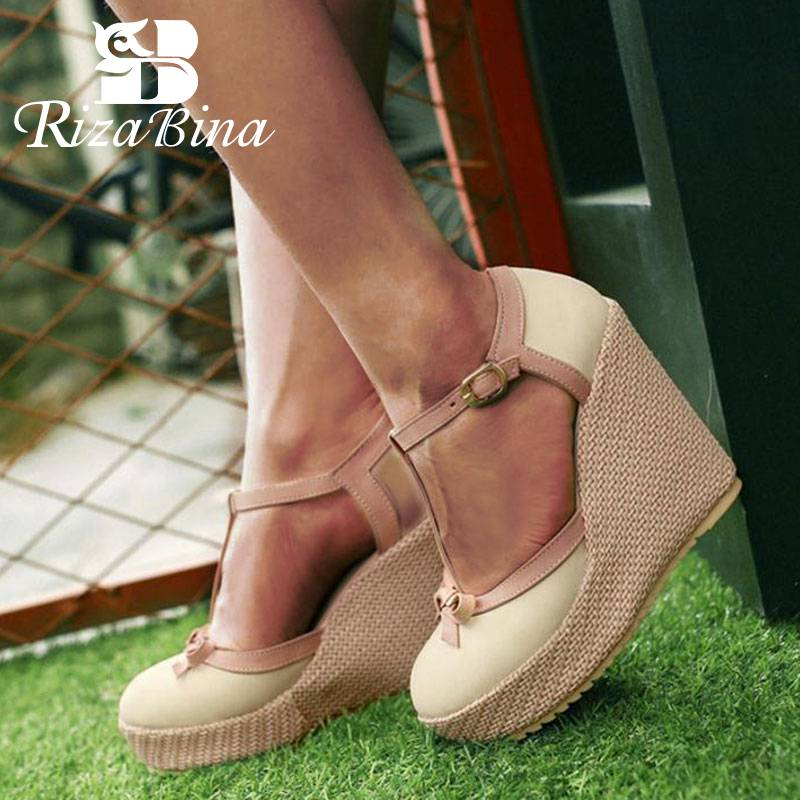 RizaBina Size 32 43 Wedges Sandals T Strap Ankle Buckle Bowtie High Heels Shoes Women Platform Classics Ladies Daily Footwear-in High Heels from Shoes on AliExpress - 11.11_Double 11_Singles' Day 1