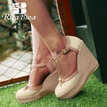 RizaBina Size 32-43 Wedges Sandals T Strap Ankle Buckle Bowtie High Heels Shoes Women Platform Classics Ladies Daily Footwear