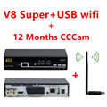 Freesat V8 Super satellite internet TV receiver + USB wifi + 1 Year Europe CCcam Cline dvb-s2 Decoder Newcam better than V7