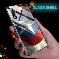 Coque Marvel Капитан Америка Железный человек стеклянный чехол для телефона huawei P30 P20 mate 20 Pro Lite P10 Plus Мстители Обложка с изображением Бэтмена Funda