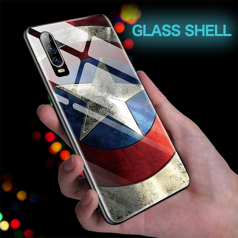 Tritone Marvel Captain America Iron Man Kaca untuk Huawei P40 P30 P20 Lite P10 Mate 30 20 10 pro Honor 9 8 Batman Cover