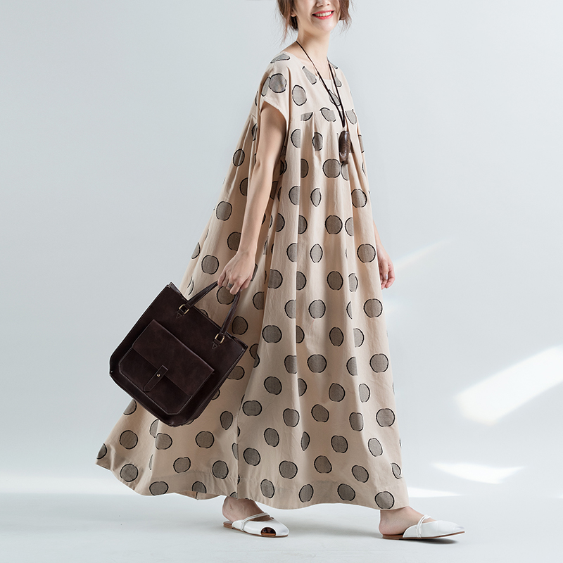 2018 Summer Cotton Linen Dress Women Plus Size Vintage Elegant Loose Polka Dots Short Sleeve Maxi Long Dresses Beach Dress