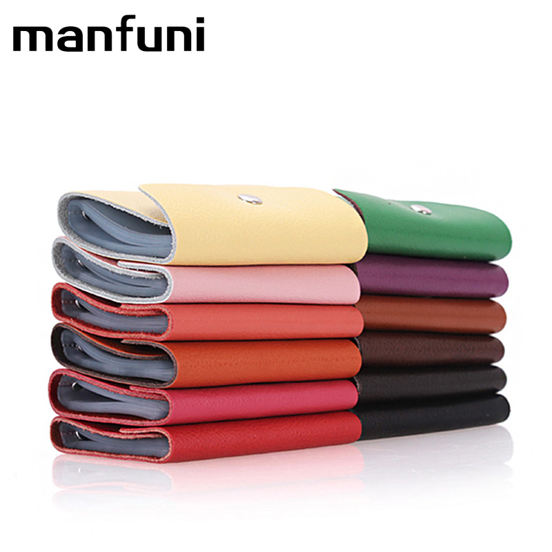 MANFUNI NEW Fashion Genuine Leather Bank Card Case Thin Mini Card Wallet Business ID Credit Card Holder Cards Pack Pocket Cheap