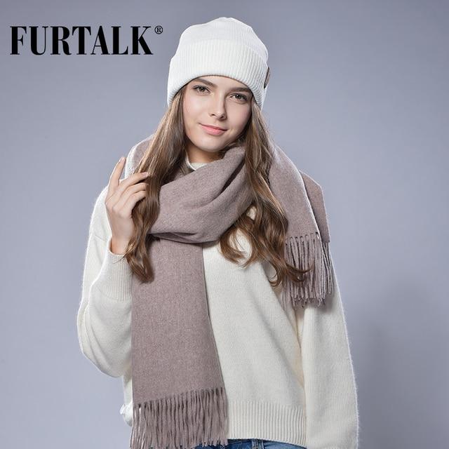 FURTALK 100% Lamb Wool Scarf for Women Wool Pashmina Bandana Winter Spring Long Women Scarf Shawls Female