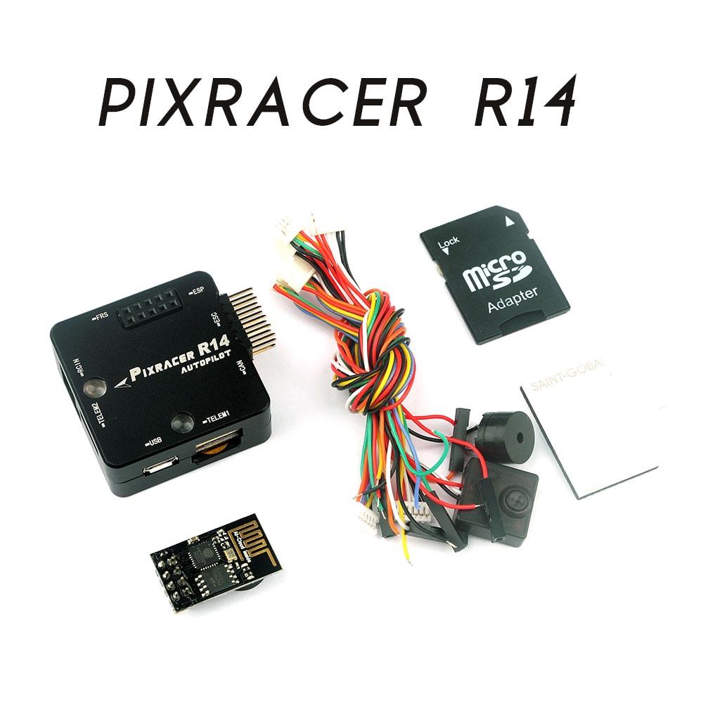 Pixracer R14 F4 Flight Controller With CNC Protective Case ESP8266 Wifi Module Micro SD Card Buzzer RC Quadcopter Transmission esp 07 esp8266 uart serial to wifi wireless module