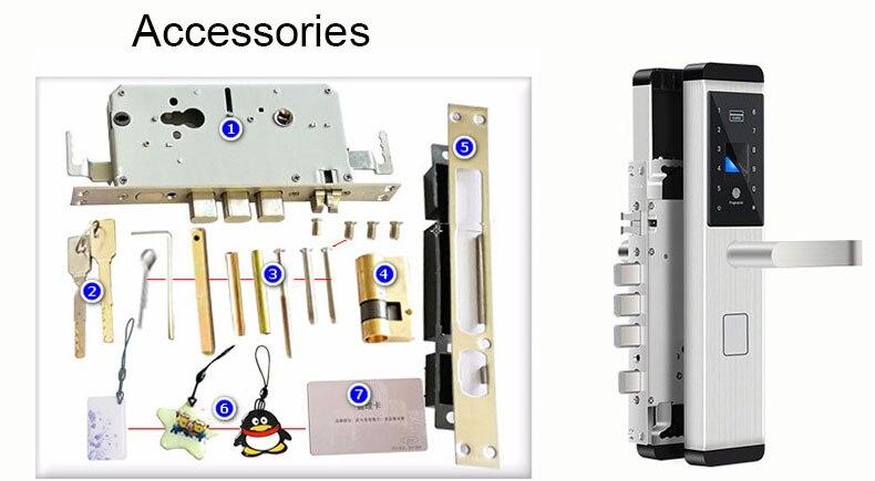 Fingerprint Door Lock Digital Fingerprint  Password  Key  Card 4 in 1 Lock Electronic Smart Door Locks For Home Office (1777)