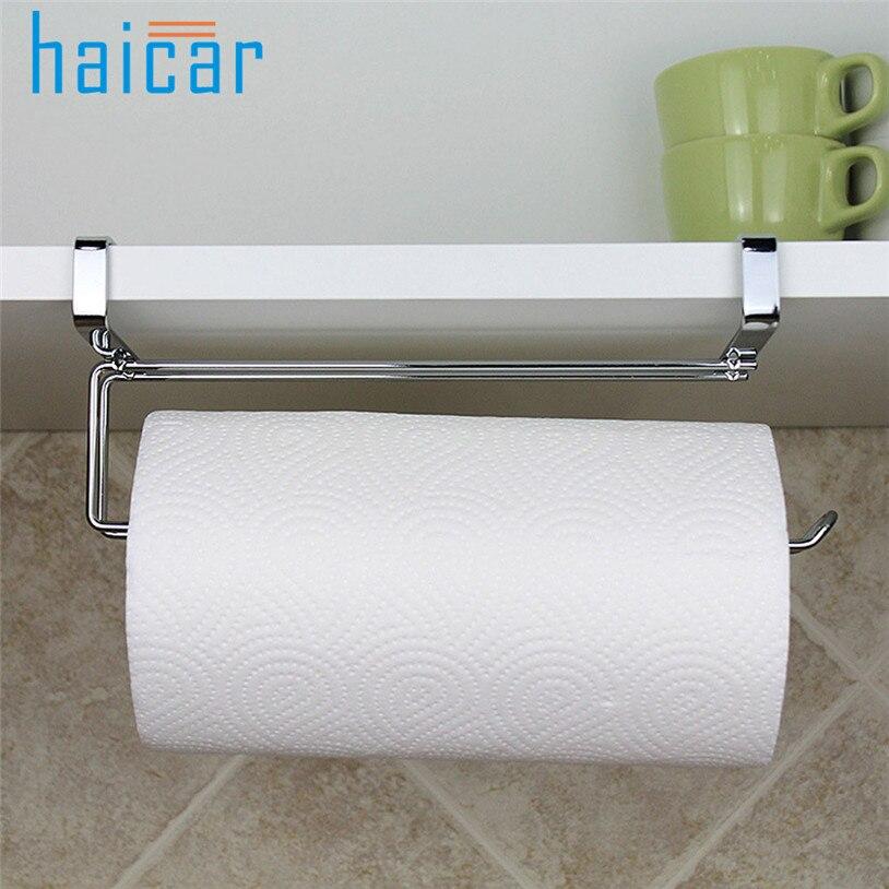 HAICAR cocina titular de papel de rollo de tejido de toalla de baño lavabo puerta colgando organizador de almacenamiento gancho soporte U70531