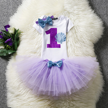 First 1st Birthday Dress Outfits Baby Girl Tutu Sets Infant Clothing Suits Kids Clothes Purple Little Princess Costume For Kids
