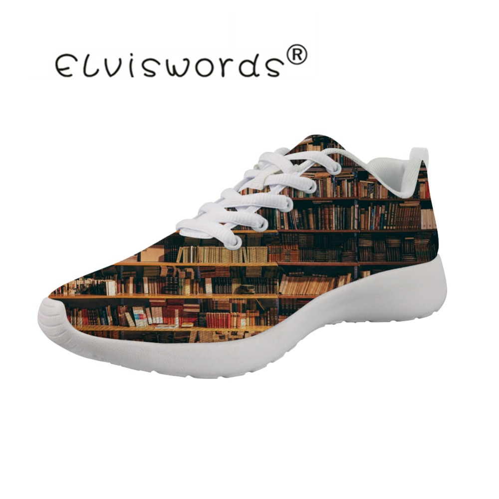 ELVISWORDS bibliothèque imprime chaussures plates filles respirant adultes baskets pour confortable femme chaussures à lacets chaussures mocassins femmes