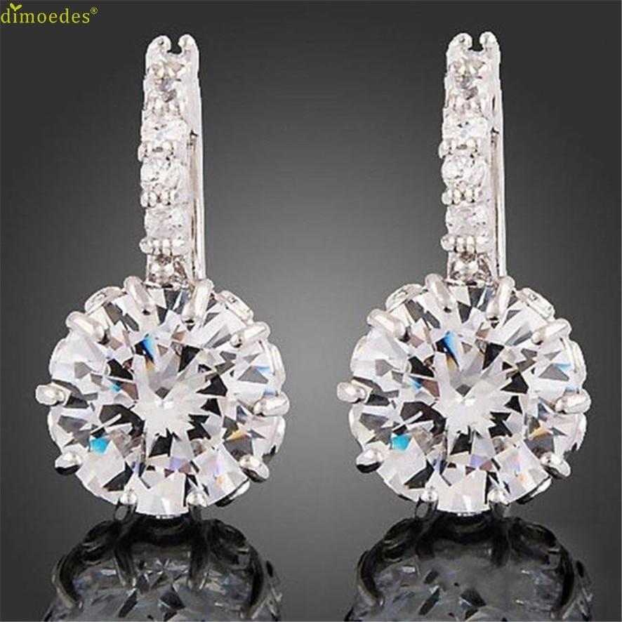 ④HOT Brand 1 Pair Silver Prong Setting Rhinestone Austria Crystal ...