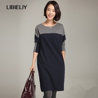 Winter New Fashion Women Dress Long Sleeve Patchwork Cotton Clothing O Neck Knee Length Thicken Warm