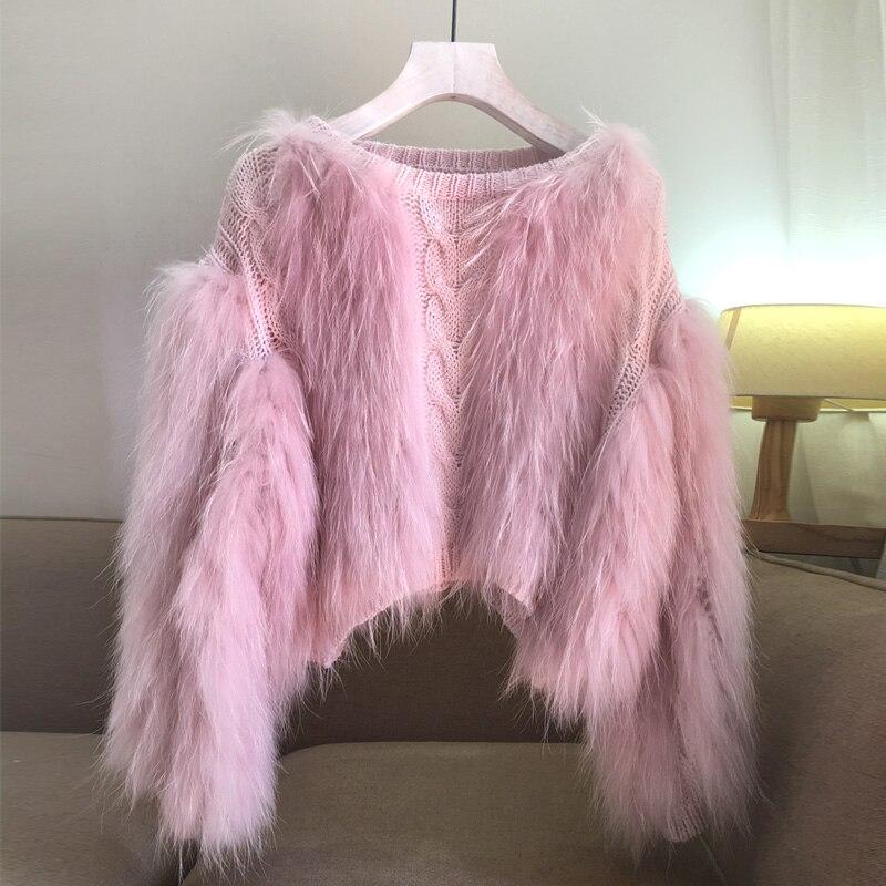 Fur Sweater Pullover Braid Jumper Computer-Knitted Knit Women Cotton Feminino O-Neck