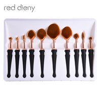 10 stücke Rose Gold Oval Make-Up Pinsel shell-förmigen Extrem Weiche Make-Up Pinsel Foundation Puder Rouge BB Creme pinsel Kit