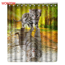 WONZOM Cat Inverted Tiger Modern Polyester Waterproof Accessories Shower Curtains For Bathroom Fabric Bath Curtain With Hooks