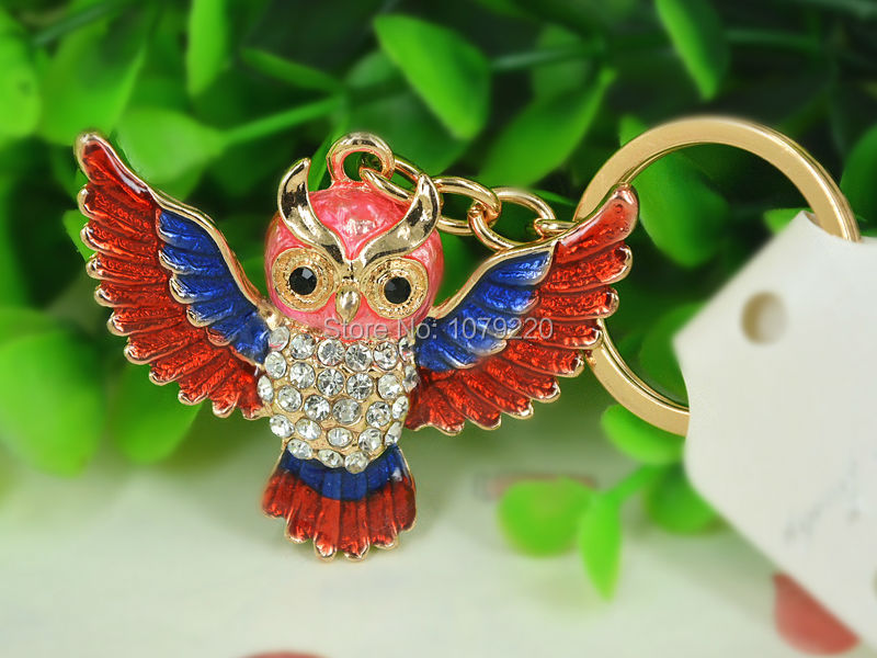 T Owl Red New Keyring Fashion Beauty Rhinestone Crystal Charm Jewellery Women Bag Pendant Car Key Chain Gift