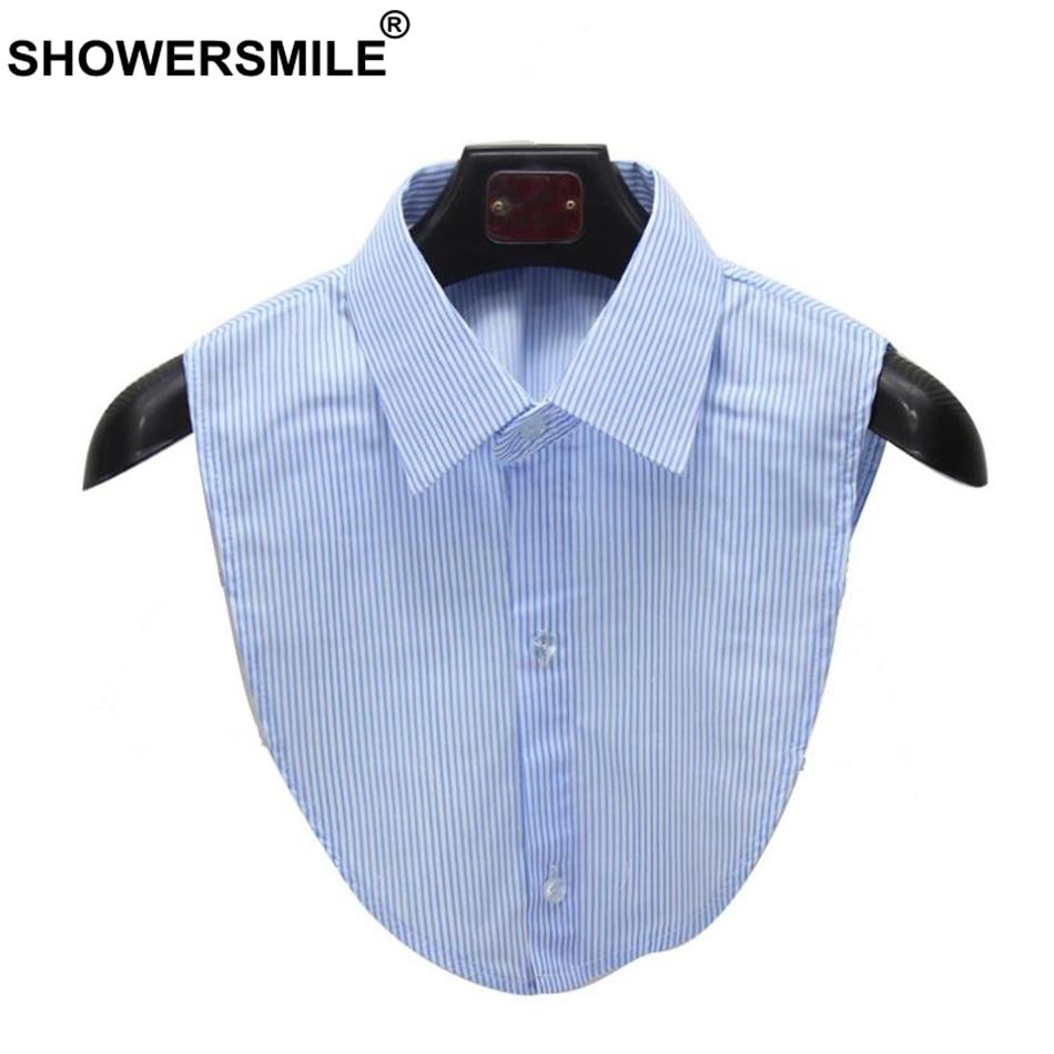 SHOWERSMILE Shirt Fake Collar Blue White Striped Detachable Collar Lady False Collar Lapel Blouse Top Women Clothes Accessories
