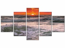 5 Pieces HD Sunset Beach Paintings Wall Picture For Living Room Oil Canvas Prints Home Decor Framed J009-035