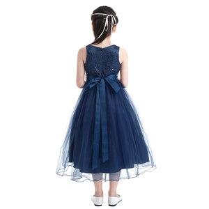 Image 3 - IEFiEL Elegante Pailletten Kinder Kleinkind Blume Mädchen Spitze Kleid Pageant Hochzeit Braut Kinder Brautjungfer Prinzessin Tüll Kleid