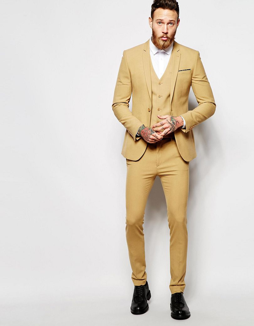 Handsome Beige Men Suits 2017 Simple Fashion Groomsman Wedding Suits Best Men's Dinner Party Dress (Jacket+Pants+Vest+Tie)