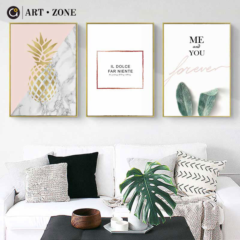 ART ZONE Pineapple Nordic Canvas Painting Green Plants Wall Art Print Poster Picture For Bedroom Living Room Decoration Poster