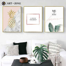 ART ZONE Pineapple Nordic Canvas Painting Green Plants Wall Art Print Poster Picture For Bedroom Living Room Decoration Poster(China)